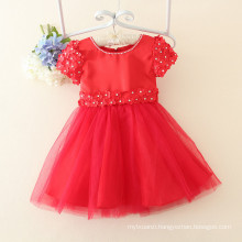 baby girls party dress/wedding/floral dress/appliqued flower and beaded