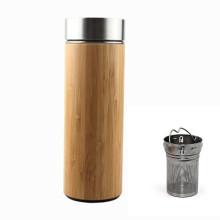 Vaso de bambú aislado del té de la pared ancha del regalo promocional de la boca ancha con el infuser 500ml