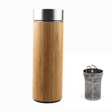 Promotional Gift Wide Mouth Double Wall Insulated Bamboo Tea Tumbler with infuser 500ml