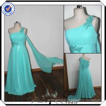PP0112 Real Sample Beaded Ice Blue eine Schulter lange Chiffon Muster für Brautjungfern Kleider