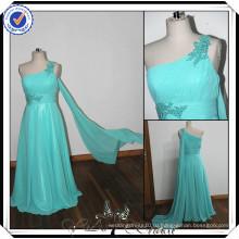 PP0112 реальный образец бисером льда синий одно плечо с длинным узоры шифон для подружек невесты платья