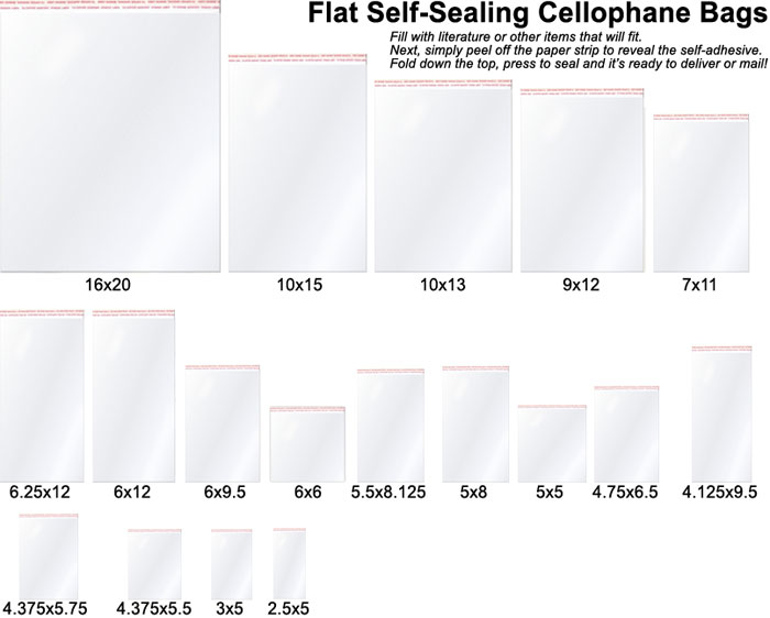 China Flat Self Sealing Clear Cello Bags Custom Cellophane
