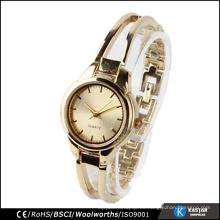 Oro plateado de acero inoxidable de la parte posterior de las mujeres reloj de pulsera de señoras