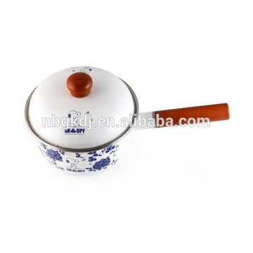 cute decals strait sauce pan with wooden handle