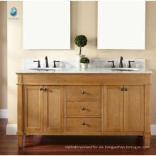 Mueble de baño de muebles exportador nuevo estilo de madera maciza puerta corredera vanidad americana