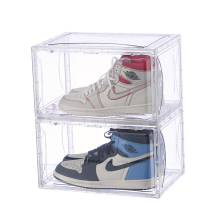 Folding Stackable Plastic Shoes Storage Magnetic Drop Front Clear Sneaker Box