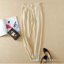 pantalones casuales de tejer de cachemira pura con bolsillos y banda de cintura elástica para damas