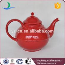 Simples estilo extra vermelho cerâmica chá pote para casa