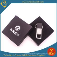 Llavero de cuero calificado del metal de la publicidad de alta calidad modificado para requisitos particulares de China