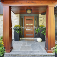 2018 western style double sidelite front glass with wood frame door designs by CE certificate