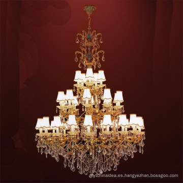 Lámpara de araña de cristal LED de oro de lujo clásico europeo del arte del metal para la sala de estar