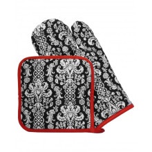 Cotton Terry Kitchen Oven Mitt Pot Holder Set