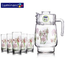 Luminarc 7PCS Printed Flower Glass Water Set with Plastic Lid (G5114)