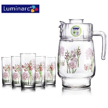 Set di acqua di vetro fiore stampata Luminarc 7PCS con coperchio in plastica (G5114)
