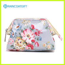 New Design Flower Pattern Canvas Laminated Cosmetic Bag Rbc-021