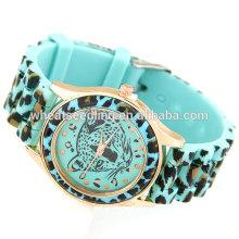 Color de caramelo adolescente Leopard nuevo reloj digital de gelatina de silicona pulsera banda