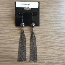 Long Earrings with Metal Tassel