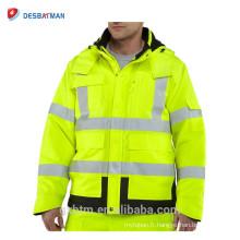 La veste réfléchissante imperméable de haute visibilité imperméable de courtepointe avec la bande 3M Scotchlite