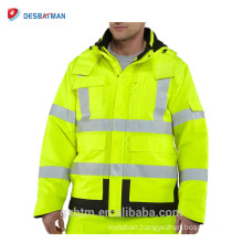 Quilt Lined Waterproof High Visibility Safety Reflective Jacket With 3M Scotchlite Tape