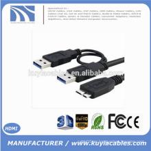 Super velocidad USB 3.0 un macho a micro USB 3.0 Y Cable para HDD móvil disco duro negro