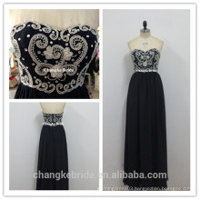 Navy Sweetheart Lace Applique Long Chiffon Bridesmaid Dresses