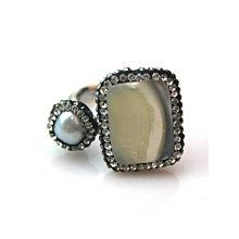 Moda Ajustável De Cobre Natural Pedra Preciosa Gemstone Finger Ring Anéis