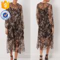 New Fashion Floral Print Brown Silk Lattice Dress Manufacture Wholesale Fashion Women Apparel (TA5309D)