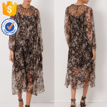 Nueva moda floral impresión marrón seda enrejado vestido fabricación venta al por mayor moda mujer ropa (TA5309D)