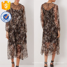 New Fashion Floral Print Brown Silk Lattice Dress Manufacture Wholesale Fashion Women Apparel (TA5309D)