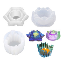 3D Lotus Crafts Creative Diy Jewelry Storage Ashtray Tray Mould Epoxy Resin Silicon Candle Holder Mold