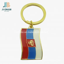Top Sell Alloy Gold Embossed Soft Enamel Custom Russian Flag Pin Keychain