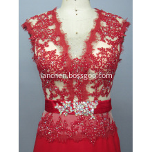 Red Lace Illusion V Neck Evening Dress