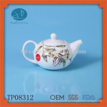 Tetera de cerámica de té de cerámica blanca set tetera de esmalte de té con calcomanía