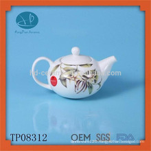 White ceramic tea pot set tea maker enamel teapot with decal