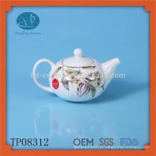 Pote de chá de cerâmica branca conjunto chá chaleira de esmalte com decalque