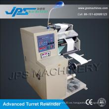 Papel autoadhesivo y cortadora de papel térmico con rebobinador de torreta