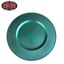 Turquoise Striped Plastic Plate