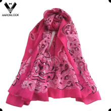 Women′s Cozy Thin See Through 100%Silk Cashew Nuts Scarf
