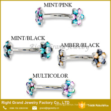 Surgical Steel Internally Threaded Double Flower Cubic Zirconia Eyebrow Ring
