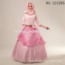 2016 Vestido de boda rosado musulmán islámico del hijab de Fashional