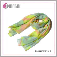 Bufanda elegante de la voile del estampado de plores de las señoras 2015 (SNTFQ1016)