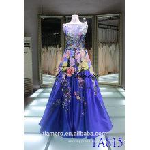 Китай 2016 линии свадебные платья невесты синий рукавов красочные 3D цветы задняя V-открытый видеть сквозь вечернее платье Пром платье