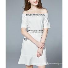 Summer off hombro mano rebordear blanco puro rebordear vestido de las mujeres