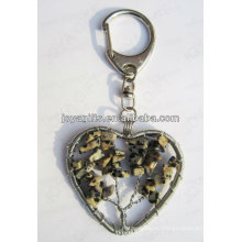 Пятна камень чип камень повезло дерево Сердце формы Gemstone брелок, драгоценный камень подвеска брелки, камень брелок