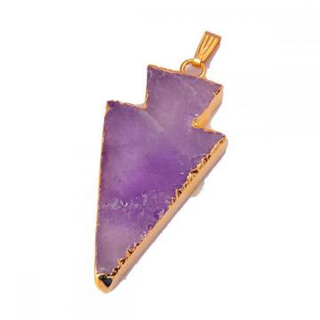 Natural Amethyst Arrow Pendant Plated 18K Gold