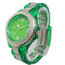 Relógio de plástico transparente de quartzo esportivo 2013