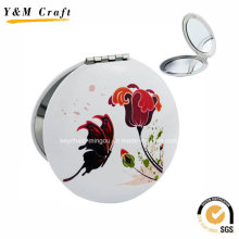 White Aluminium Small Round Cosmetic Mirror Custom Ym1160