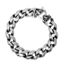 Clássico punk homens link pulseiras de jóias de aço inoxidável 316l distorção livre