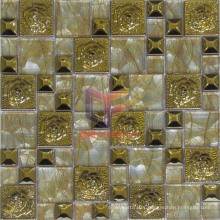 Gold Color Rose Pattern Stainless Steel Mix Crystal Mosaic (CFM885)