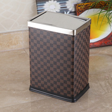 Grid Design Quadrilateral 10L Leather Covered Push Dust Bin (GA-10LB)